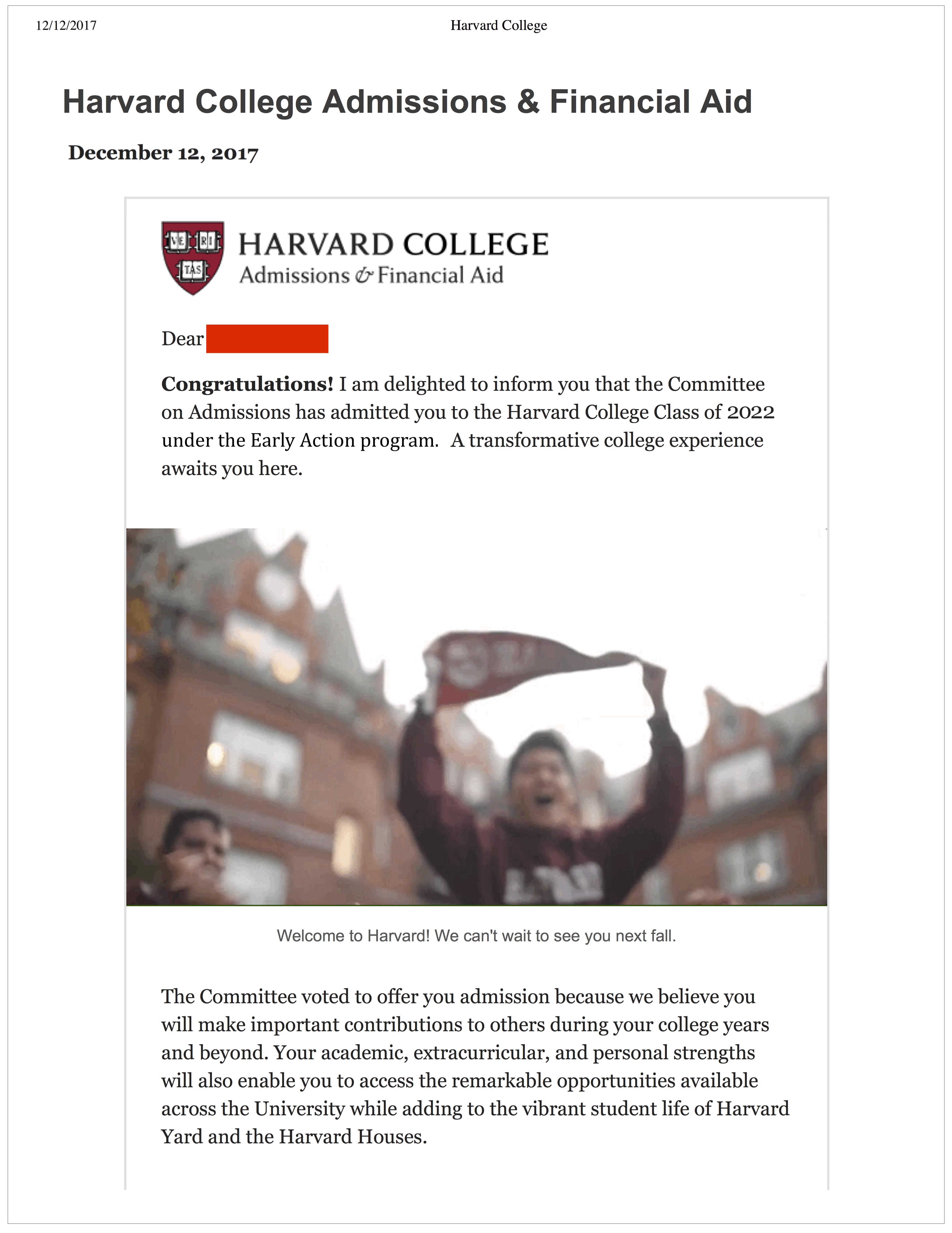 harvard acceptance letter