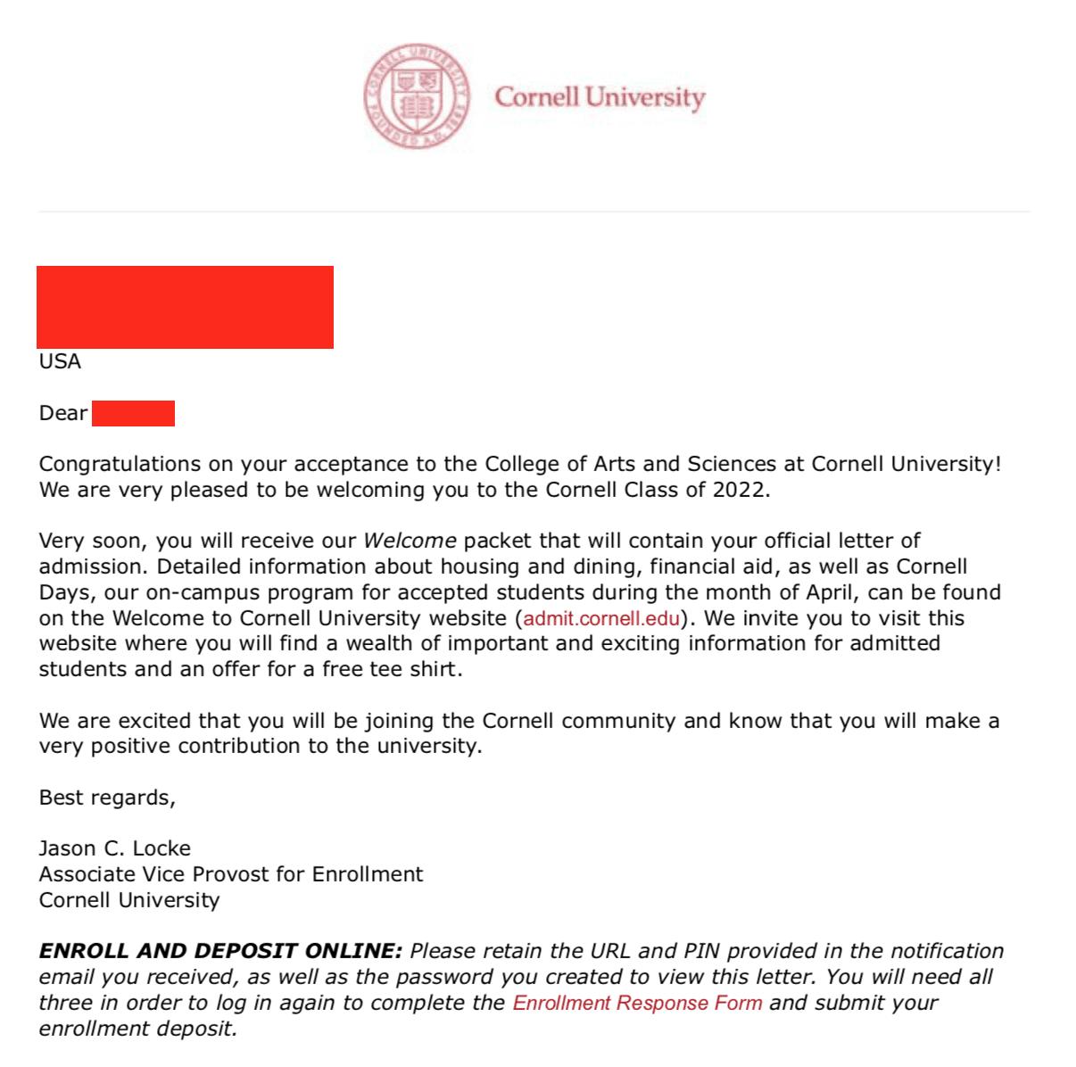 cornell acceptance letter