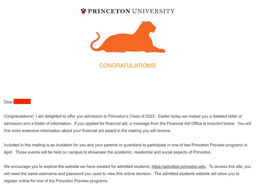Princeton acceptance letter