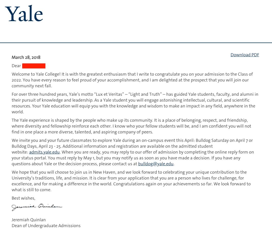 yale acceptance letter