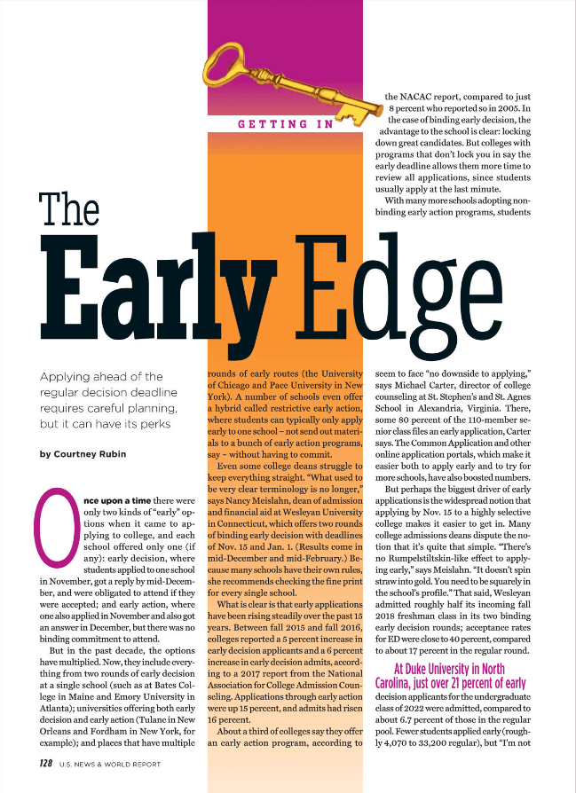 """Eric Eng is featured in the """"Early Edge"""" of the US News and World Report."""