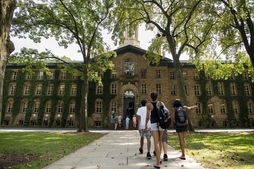 A beautiful day at Princeton as students walk to class.