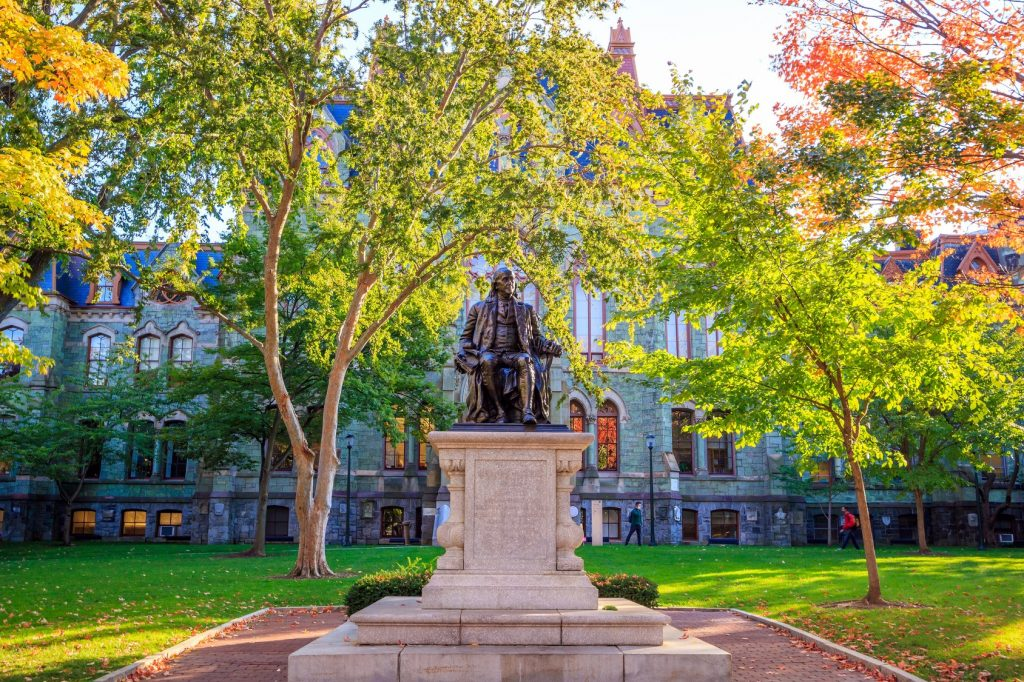 A bright sunny day at the University of Pennsylvania.