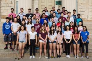 Students gathering during the University of Iowa Secondary Student Training Program (SSTP).