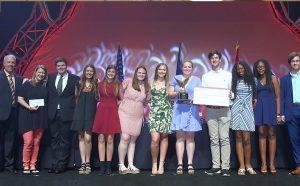 2018 High School Senior Science Olympiad Winners pose on stage