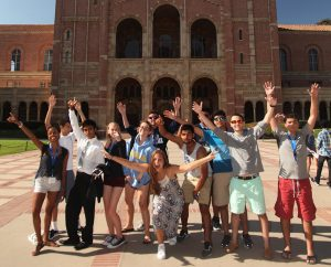 Summer Session High school Seniors pose in front of the UCLA Library
