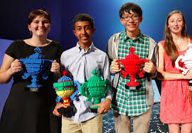 2019 Google Science Fair Winners pose with their trophies