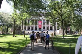 High school Students walking to their first summer school session at Harvard