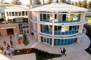 elevated view of Nichols Hall from the roof of Dobbins Hall between period 1 and period 2 with students walking between classes.