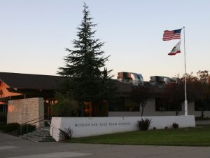 The front of Mission San Jose High School's building