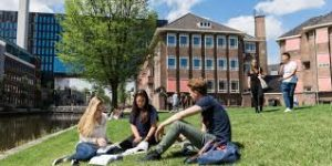 Columbia Students relax and chat on the lawn