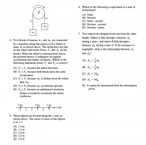 Some examples of multiple choice questions from the past AP Physics C Exam(s)