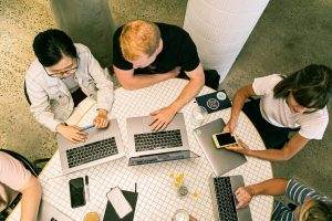 Students gathered in a table for research