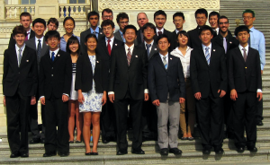 Students from the training camp are grouped to form the U.S. Physics team