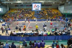 Robotics competition in a stadium