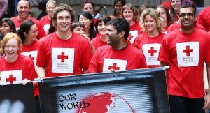 Employees of Red Cross in a parade