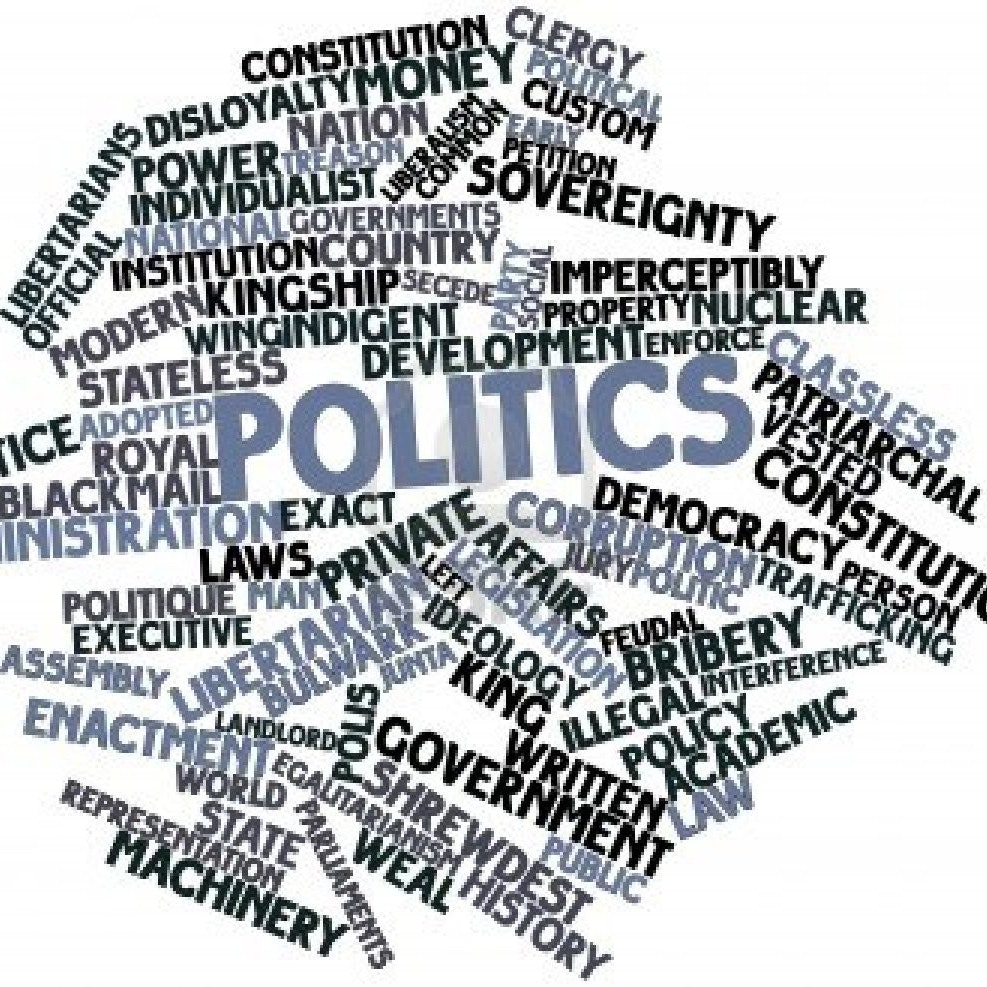 Colored words related to government and politics