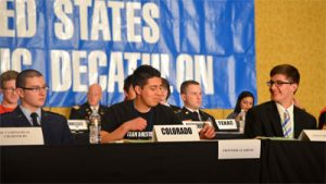 A group of students compete in the academic decathlon