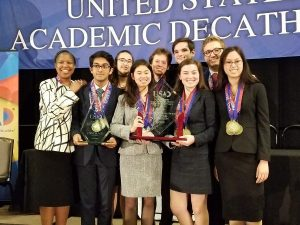 A group of students received an award for the academic decathlon.