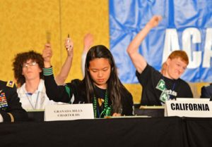High school students compete in the academic decathlon competition.