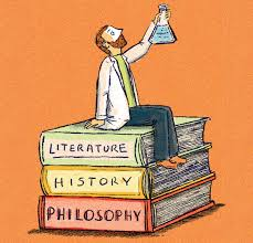 An animated person sitting on books related to Humanities