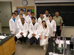 Science Lab Students pose in front of students