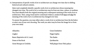 Art and Architecture sample question