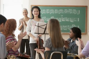 Students in a music class
