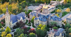 Notre Dame main building aerial view