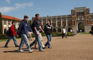Rice University students walking in the school campus