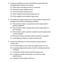 sample economics exam question