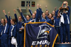Students cheering in the bleachers of Emory