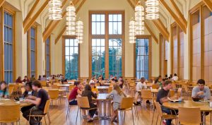 Students eating in the dining hall.