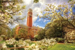 Vanderbilt University main building surrounded by plants and trees