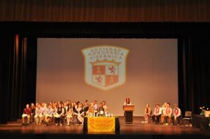 Spanish Honors Society program in the stage