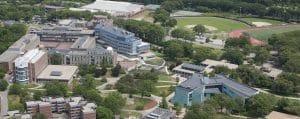 Brandeis University, Waltham, campus aerial view