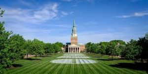 Wake Forest University surrounded by trees