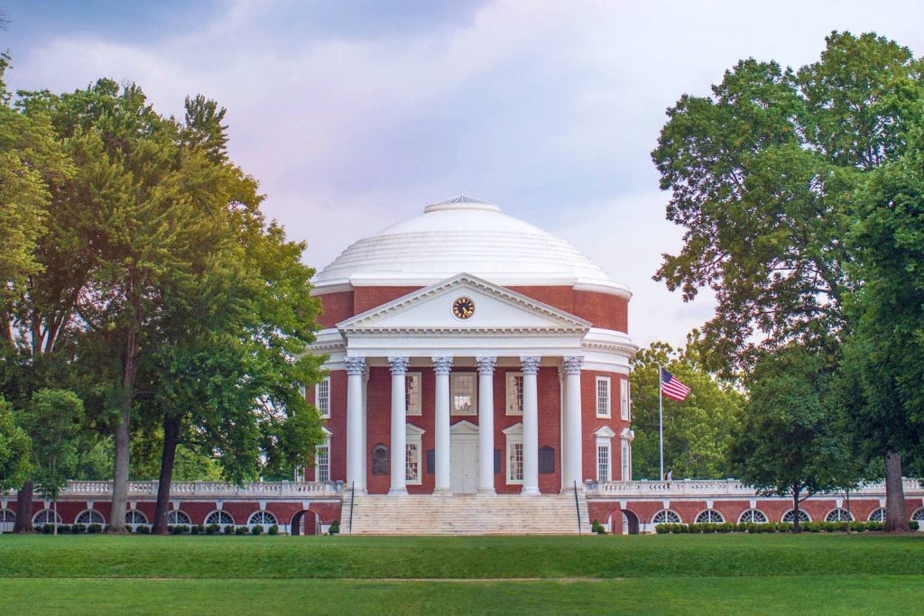 University of Virginia main building surrounded by trees