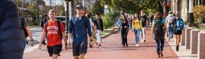Students walking in the campus.
