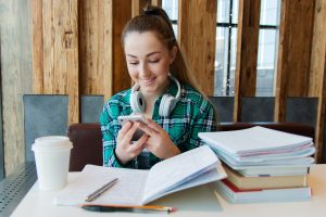 Young woman studying in a university library
