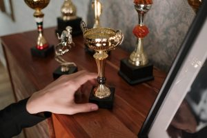 Trophies from essay competitions.