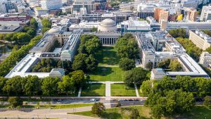 Aerial view of a university campus.