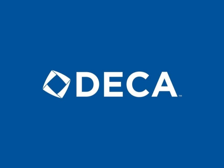 DECA brand logo in blue in white.