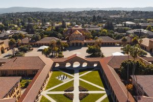 Aerial view of a university.