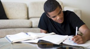 Male student studying in the living room.